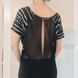 Express Sheer Open Back Cutout  Striped Blouse